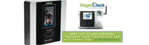 Limited promotion poster - save 10% on Fingercheck time clocks.