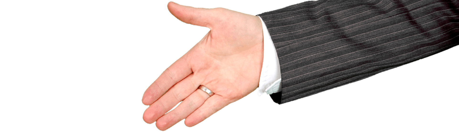 Hiring manager extends hand for handshake interviewing candidate found through FingerCheck's applicant tracking.