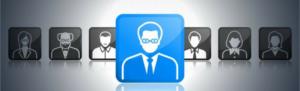 Recruit applicants through social media concept, profile photos, one icon selected,