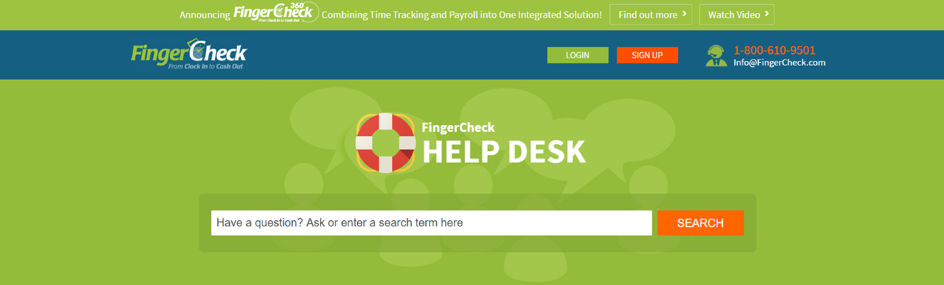 Fingercheck help desk portal homepage.