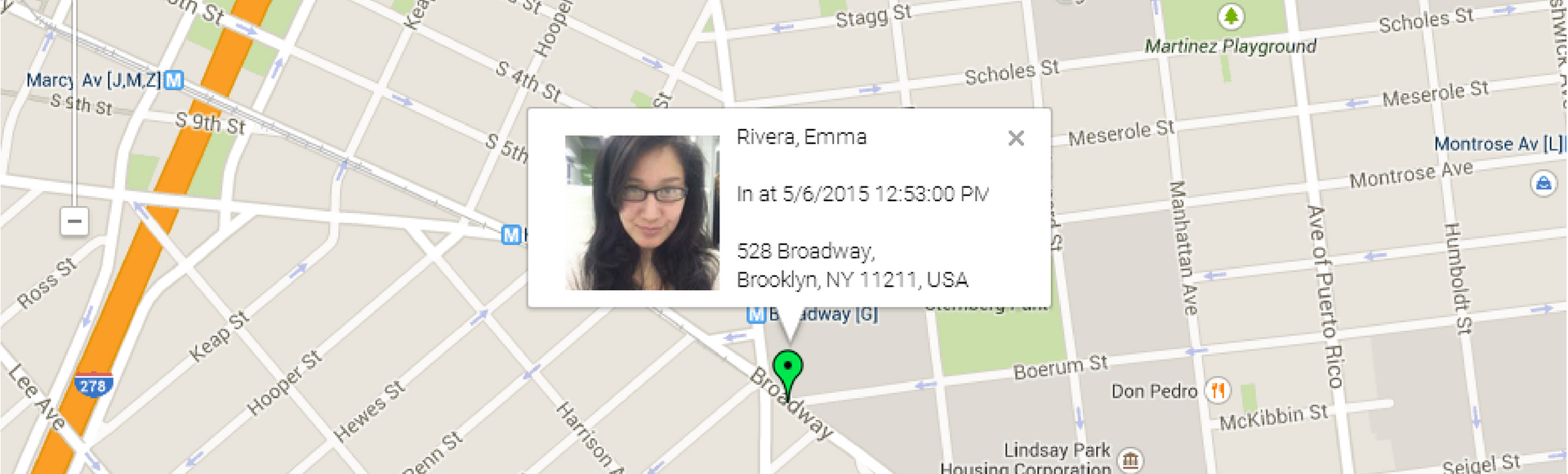 Fingercheck New GEO Live Map: punch photo of employee displayed on google maps