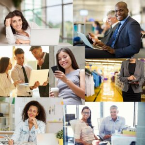 A collage of one company's global workforce in different offices and settings, uses Fingercheck to stay connected.