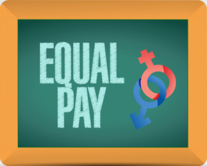 illustration on chalkboard spells out equal pay with male and female symbols intertwined in lieu of California's new equal pay act.