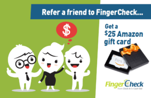 Refer a friend to Fingercheck new feature promotional poster.