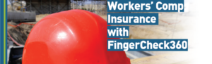 Bright orange hard hat on construction worker site as background to announcing workers' comp insurance from Fingercheck.