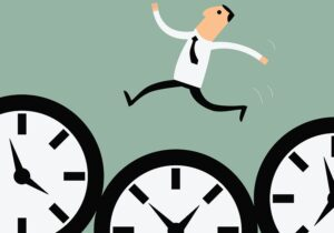 Illustration in flat style of businessman hopping over three time clocks signifying acing time and attendance with FingerCheck tips and tools.
