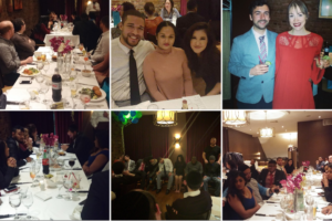 Collage of Fingercheck corporate party, showing employees, guests, food and fun.