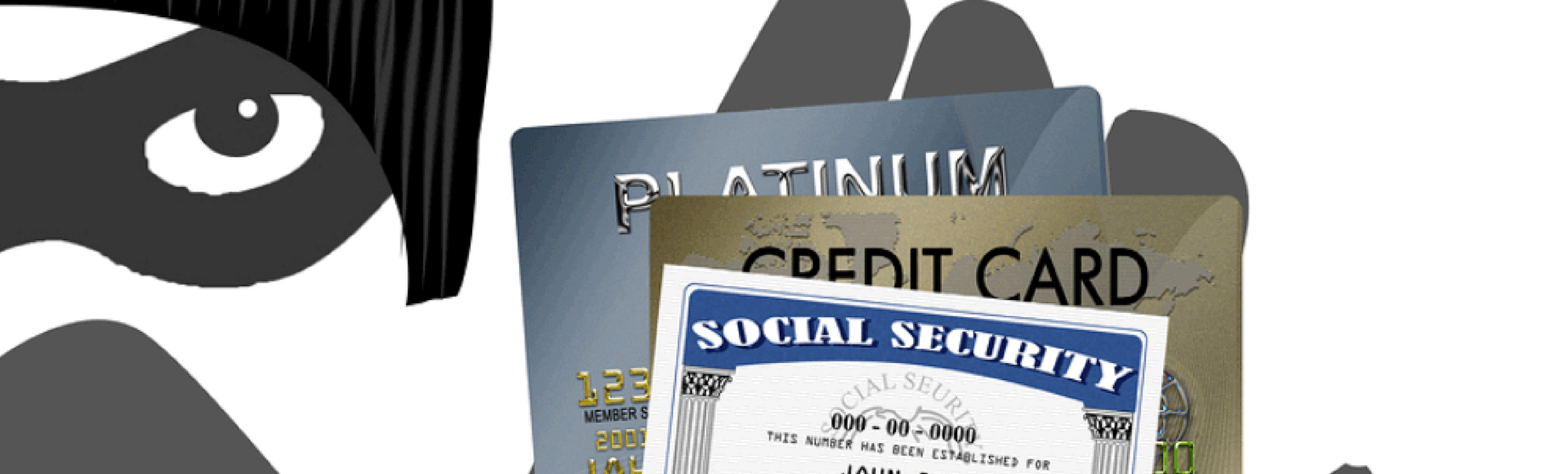 Identity theft prevention concept, mugger holds stolen social security card and credit card information stolen through tax scam.