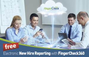 Fingercheck promotional image shows enthusiastic management in meeting using smart devices and a cloud above to symbolize Fingercheck's new electronic new hire reporting feature.