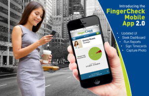 Image of browser-based mobile app opened on a smartphone overlaid on woman in New York City using her smartphone to stay in tune with work.