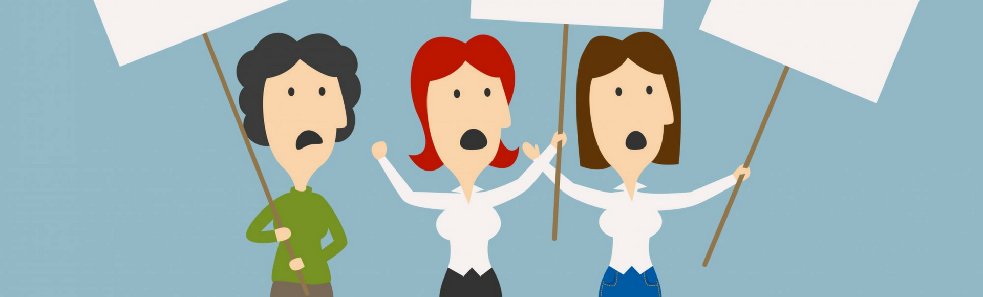 Flat illustration of three retail workers protesting pending bill to cut Sunday overtime in Massachusetts.