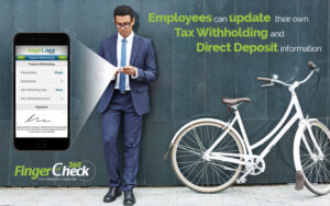 Young hip businessman next to parked bicycle updating his tax withholding and direct deposit using Fingercheck mobile.
