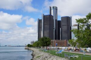 Detroit skyline during a city-wide payroll glitch.