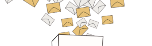 Illustrated letters in envelopes falling from sky into box to signify labor law and business news of 2016.