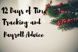"Sprig of holly and mistletoe with gray background and ""12 Days of Time Tracking and Payroll Advice"" written."