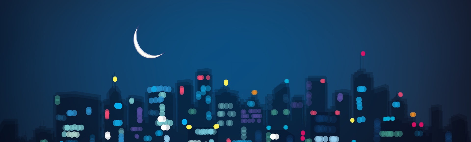 Illustrated city night-time sky and crescent moon hang over buildings indicating overnight shift for Fingercheck's new time card feature.