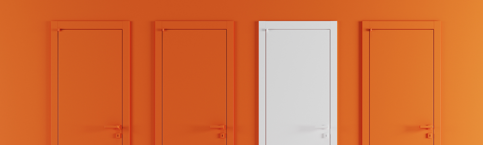 One white door stands out against three orange doors representing a stand-out candidate during the hiring process who has options to consider.