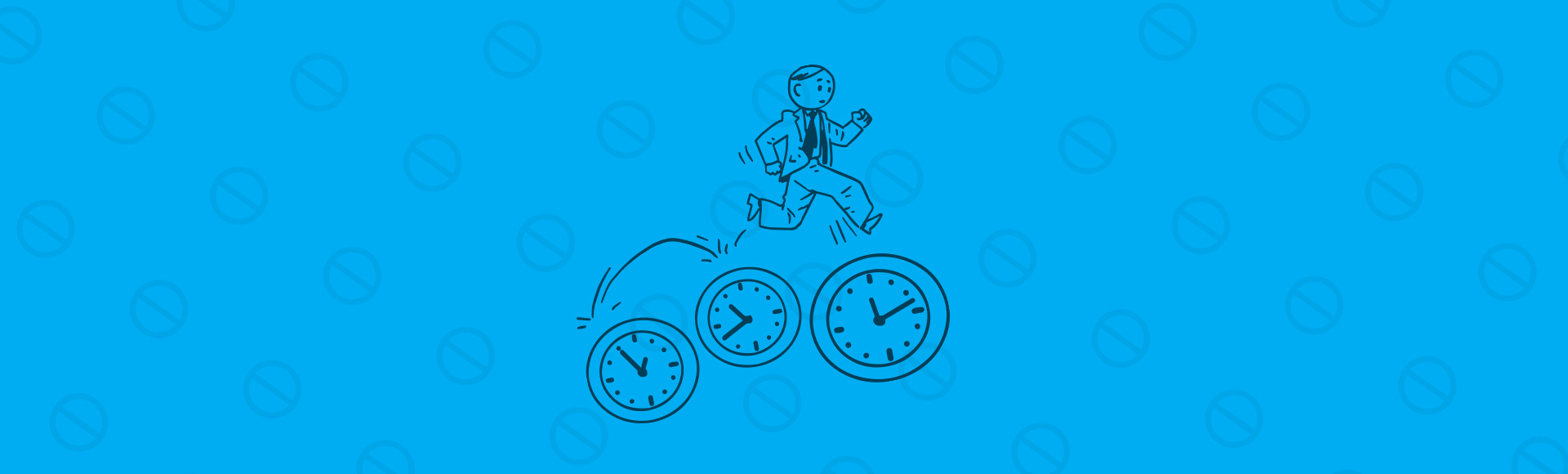 Illustration of employee running on time clocks to represent Fingercheck's new feature restricting employee punches based on schedule.