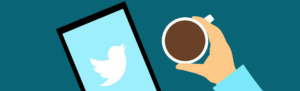 Cartoon illustration of coffee cup and Twitter on tablet concept of employee posting a tweet and possibility of being fired for it.